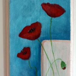 Three Red Poppies - original painting on wood